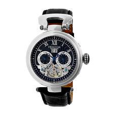 Heritor Automatic Ganzi Semi-Skeleton Leather-Band Watch - Silver/Black