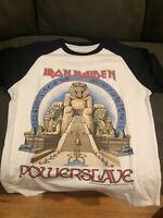 Iron Maiden Powerslave 1984 Raglan World Slavery Tour European Dates M to 2XL