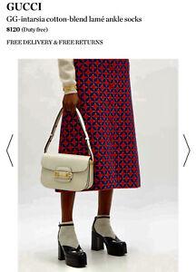 Gucci Metallic Women's Low Socks Ivory (Reciept In Ad)