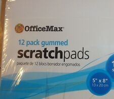OfficeMax Scratch Pads, Unruled, 5 x 8, White, 100 Sheets, 12/Pack Gummed Top