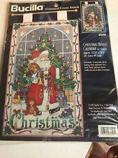 Christmas Advent Calendar w Charms Bucilla 83698 Santa Window Cross Stitch Kit