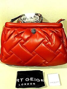 Kurt Geiger LARGE KENSINGTON Soft Quilted Leather Clutch Bag RED NWT