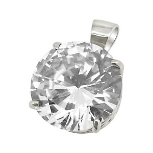 Rhodium 65 Carat Jumbo Stone Solitaire Pendant For Chain Necklace