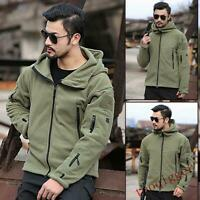 Mens Tactical Military Fleece Hooded Jacket Coat Casual Zip Camouflage Outwear