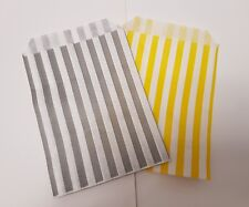 20 Grey and White and Yellow and White Stripe Sweet Bags, Baby Shower Gift Bags