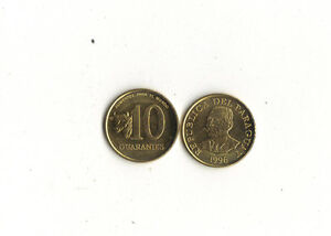 WORLD FOREIGN COINS* PARAGUAY *10 guaranies 1996 * General Garay *FAO*LOT Ag14*