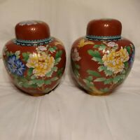 Antique Cloisonné Ginger Jar Pair Red Lily Blue Pink Flower Butterfly Lotus