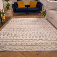 Grey Tribal Rugs for Living Room | Moroccan Scandi Style Runner Rugs | Luxurious