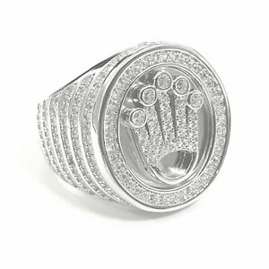 925 Sterling Silver White Gold Finish Shiny Sparkly Bling Crown Men Pinky Ring