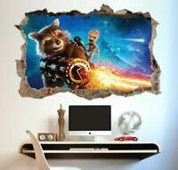 Rocket Groot Guardians II Crack Poster Kids Bedroom Wallpaper Vinyl Sticker Art