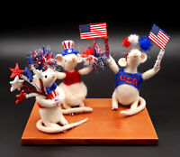 Needle felted patriotic red white blue wool mice ooak art sculpture shipped free