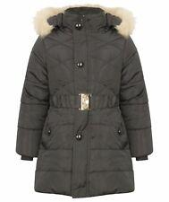 Kids Girls Fur Hooded Cotton Padded Coat Kid Long Jacket Parka Overcoat