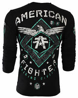 AMERICAN FIGHTER Mens LONG SLEEVE T-Shirt ABRAHAM Eagle BLACK Biker Gym $54