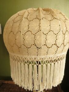 Vintage Cream lace fringed  light / lamp shade  .
