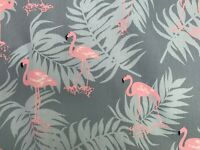 Pink Flamingos on a Grey Background 100% Cotton Twill Fabric Sold Per Meter