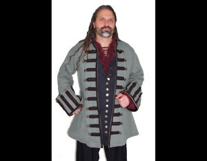 Dress Like A Pirate Original Design Captain Ansell Frock Coat Dove Gray/Black M