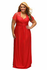 NEW RED LACE YOKE RUCHED  EVENING MAXI DRESS SIZE AVAILABLE  16,18,20,22