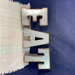 """EAT Sign 7"""" Galvanized Metal Block Letters Rustic Country Farmhouse Industrial"""