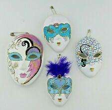 4 Italian Venetian Decorative Ceramic Hand Painted Wall Masks Carnival