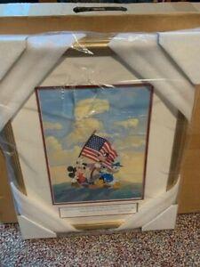 DISNEY SERICEL ART SPIRIT OF AMERICA LE - MICKEY MOUSE DONALD DUCK & GOOFY COA