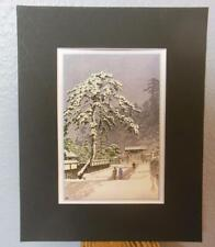 "Matted Print Kawase Hasui Japan Honmonji Templein Snows 8 x 10"" Sealed Black Mat"