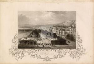 ANTIQUE 1853 Engraving Print, Villa Royal, Naples, Italy #D772