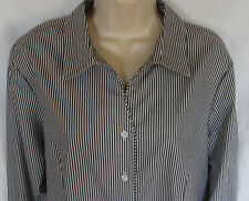NWT Christopher & Banks black white striped LS blouse womens sz XLP