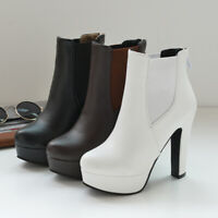 Womens Block High Heel Platform Round Toe Elastic Ankle Boots Waterproof Pumps