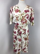 SL Fashions VTG 80s Romper Women's Cream Floral PRETTY WOMAN STYLE BELTED 14