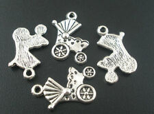 50PCs Tibetan Silver Baby Carriage&Buggy Charms Pendants Jewellery Making