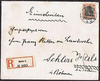 1902 30pf 'Germania' on 1909 registered cover to Bohemia TS534