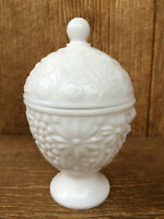 Vintage Avon Milk Glass Covered Candy Dish / Bowl Embossed Floral Design
