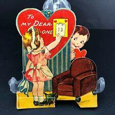 Vtg Antique German Valentines Card Mechanical Interior House Peeping Tom Funny
