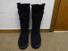 UGG BOOTS SZ 7 WOMEN TALL LEATHER SHERPA SHEARLING TEXTILE BUTTON BLACK