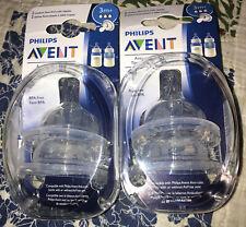 New listing Philips Avent Medium Flow Anti-Colic 3m+ Nipples 2 Ct Bpa Free New 2 Pack Lot