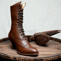 Women Victorian Punk Pointed Toe Mid-Calf Boots Ladies Lace Up Mid Shoes