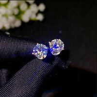 4Ct Round Cut Moissanite Solitaire Stud Earrings Solid 14K White Gold Finish