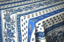 """LE CLUNY, LISA WHITE & BLUE FRENCH PROVENCE COATED COTTON TABLECLOTH, 60"""" X 84"""""""