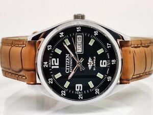 citizen automatic men's steel day/date black dial vintage japan watch run order