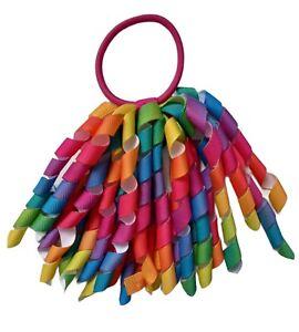 Hair Bow Rainbow Korker Streamer Ribbon Elastic Bobble Hair Bow UK Seller 🇬🇧