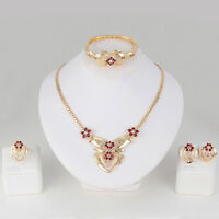Women's Wedding Rhinestone Ring Earrings Necklace Bracelet Jewelry Set Fashion