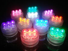 30 MULTI COLOURED SUBMERSIBLE 3 LED LIGHTS WEDDING TABLE CENTREPIECES FREE P&P