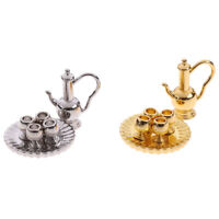 1: 12 Dollhouse Miniature Metal Tea Set Teapot Cup Plate Furniture T GwJ Fy