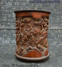 "6"" Rare China Folk HuangHuaLi Wood Pure Hand Carved Longevity Old Man Brush Pot"