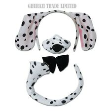 DALMATIAN SET EARS ON HEADBAND TAIL NOSE SET + SOUNDS DALMATION  ACCESSORY