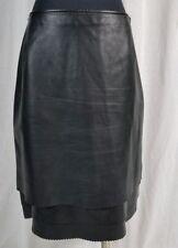 ESCADA Black Tiered Lambskin Leather Skirt Medium RARE!!