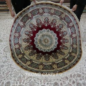 Yilong 5'X5' Red Handmade Area Rug Medallion Hand knotted Round Home Carpet 169A