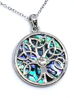 Tree of Life Pendant Abalone Shell Celtic Chain Necklace Silver Gift Boxed