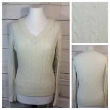 Pure Alfred Sung M White w/ Silver Thread Cable Knit Sweater V-Neck Long Sleeve