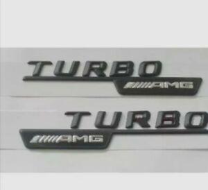2x TURBO AMG Letters Trunk Emblem Badge Sticker for Mercedes-Benz AMG Glänze